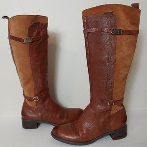 Etienne Aigner Leather Tall Two Tone Riding Boot